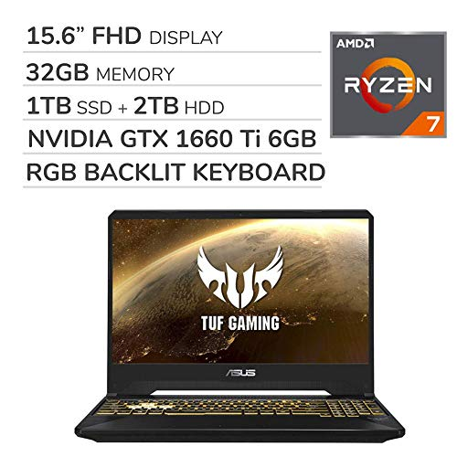 ASUS TUF Gaming 2019 15.6'' FHD Laptop Notebook Computer, AMD Ryzen 7 R7-3750H 2.3GHz, GTX 1660 Ti 6GB Graphics, 32GB…
