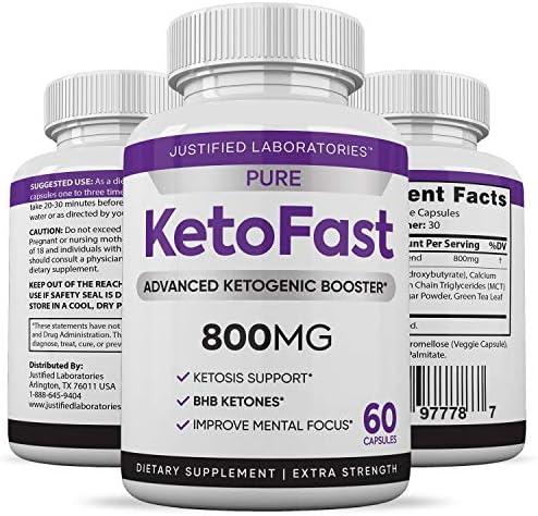 Pure Keto Fast Pills Advanced BHB Ketogenic Supplement Real Exogenous Ketones Ketosis for Men Women 60 Capsules 1 Bottle 6