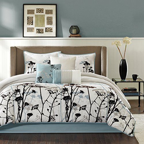Madison Park - Matilda 7 Piece Comforter Set - Blue - Queen - Black Flocking Three Dimensional Look - Includes 1 Comforter, 3 Decorative Pillows, 1 Bed Skirt, 2 Shams
