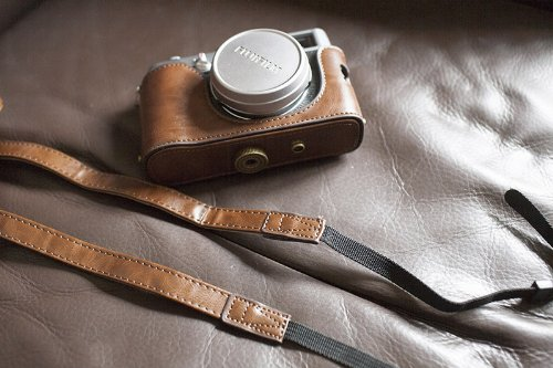 PU Leather Full Camera Case bag cover for FUJIFILM X100F X100T X100S X100 Brown Color + strap