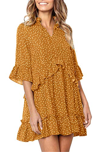 Mystry Zone Oversize Polka Dot Dress Retro Half Sleeves Casual Loose Short Dress Yellow XX-Large