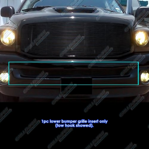 APS Compatible with 2002-2008 Dodge Ram Lower Bumper Black Billet Grille Insert D65375H