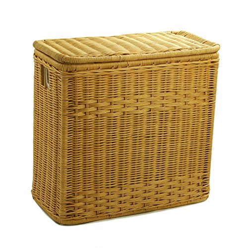 The Basket Lady 3-Compartment Wicker Laundry Sorter Hamper, 30 in L x 15 in W x 28 in H, Toasted Oat