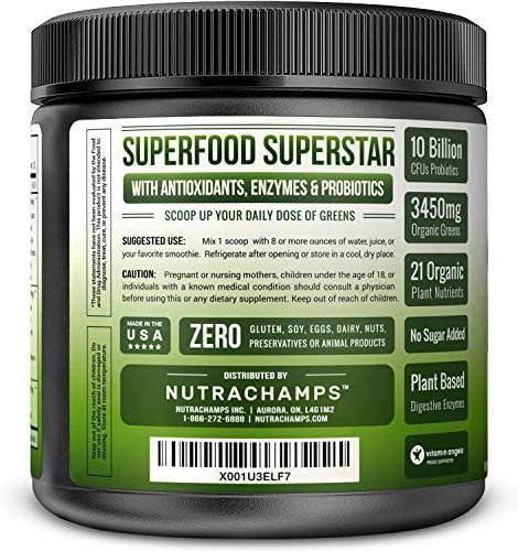 Super Greens Powder Premium Superfood - 20+ Organic Green Veggie Whole Foods - Wheat Grass, Spirulina, Chlorella & More - Antioxidant, Digestive Enzyme & Probiotic Blends | Vegan Juice Supplement 4