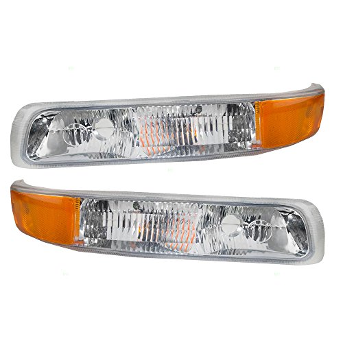 Aftermarket Replacement Driver and Passenger Set Park Signal Side Marker Lights Compatible with 1999-2002 Silverado Pickup Truck 15199558 15199559