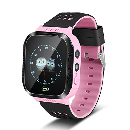 Smart Intelligent Watch with SOS Camera Flashlight for Children, Kids Smartwatch Phone GPS Tracker Combine with Android iOS(Pink)