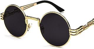 Vintage Round Sunglasses Men Black Retro Punk Sun Glasses...