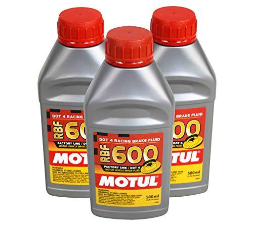 Motul (3 Pack) 100949 8068HL RBF 600 Factory Line Dot-4 100 Percent Synthetic Racing Brake Fluid - 500 ml