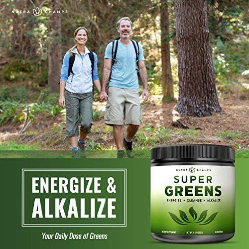 Super Greens Powder Premium Superfood - 20+ Organic Green Veggie Whole Foods - Wheat Grass, Spirulina, Chlorella & More - Antioxidant, Digestive Enzyme & Probiotic Blends | Vegan Juice Supplement 6