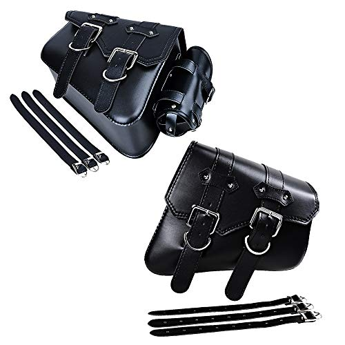 Motorcycle PU Leather Swing Arm Saddlebag Left Side with Holder and Right Side Saddle Storage Bag Compatible with Harley Sportster XL883 XL1200