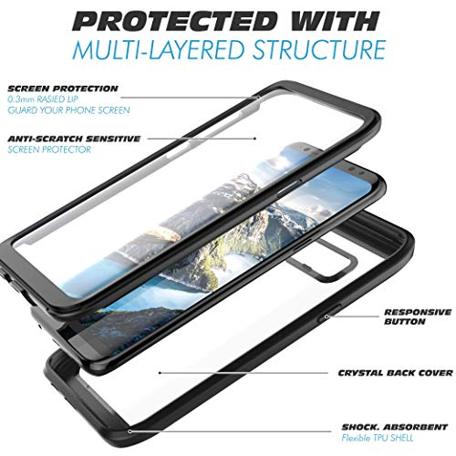 Pakoyi Samsung Galaxy S8 Case, Full Body Bumper Case Built-in Screen Protector Slim Clear Shock-Absorbing Dustproof Lightweight Cover Case for Samsung Galaxy S8 (5.8 Inch) (Black/Clear)