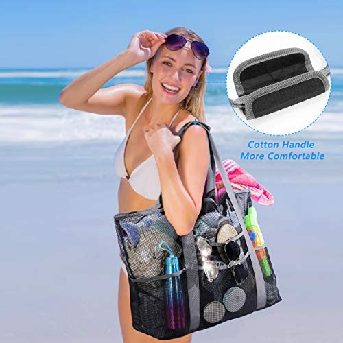 Mesh Beach Bags and Totes for Women,MOVTOTOP Oversized Mesh Beach Bags of 39L ,Beach Bag with Extra 8 Pockets Perfect to Carry All Items for Your Family to Beach, Pool, fishing, Family Picnic