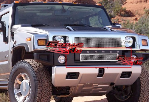 APS Compatible with 2003-2007 Hummer H2 Lower Bumper Stainless Mesh Grille Insert C76580T