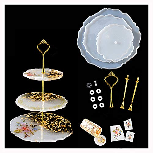 3 Tier Cake Stand Silicone Resin Tray Molds, Irregular Epoxy Resin Geode Agate Casting Mold DIY Craft Home Decoration