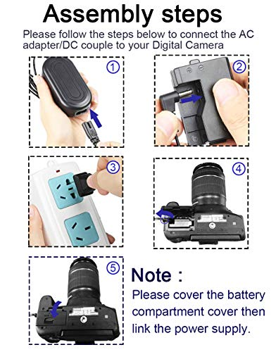 ACK-E10, Decumoor ACK-E10 AC Power Adapter DR-E10 DC Coupler Charger Kit (Replacement for LP-E10) for Canon EOS Rebel T3, T5, T6, T7, T100, Kiss X50, Kiss X70,EOS 1100D 1200D 1300D Digital Cameras