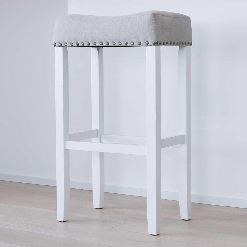 Wood Kitchen Barstool With White Finish