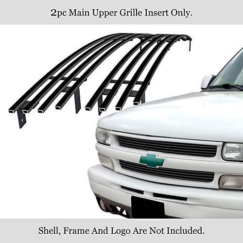 APS Compatible with 1999-2002 Chevy Silverado 1500 & 00-06 Suburban Tahoe Main Upper Stainless Steel Black 8X6 Horizontal Billet Grille Insert C85068J