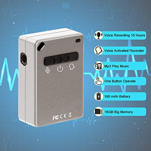 Cube Voice Recorder,eoqo Voice Activated Audio Recorder - 12 Hours Voice Recording with 16GB Memory(Gray)