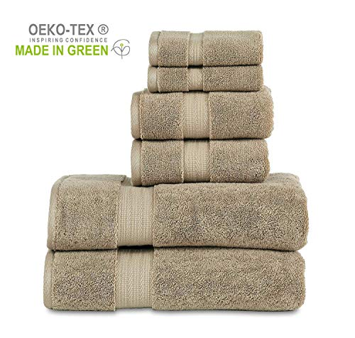 """804 GSM 6 Piece Towels Set, 100% Cotton, Premium Hotel & Spa Quality, Highly Absorbent, 2 Bath Towels 27"""" x 54"""", 2 Hand Towel 16"""" x 28"""" and 2 Wash Cloth 12"""" x 12"""". Taupe Color"""