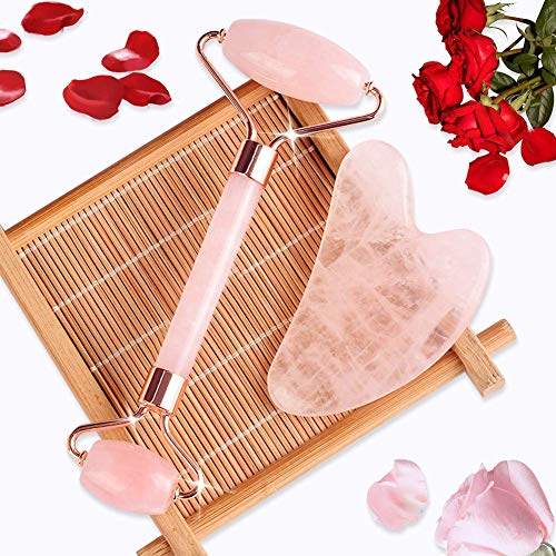 Jade Roller & Gua Sha, Face Roller, Facial Beauty Roller Skin Care Tools, BAIMEI Rose Quartz Massager for Face, Eyes, Neck, Body Muscle Relaxing and Relieve Fine Lines and Wrinkles 3