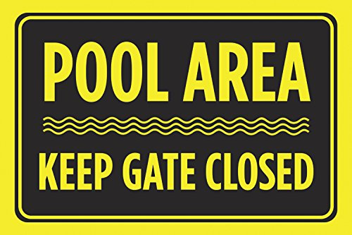 Pool Area Keep Gate Closed Black Yellow Print Swim Rules Swimming Horizontal Poster Outdoor Notice Sign