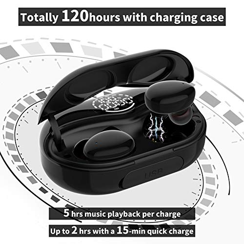 Wireless Earbuds Bluetooth Headphones with Digital Display Charging Case,Noise Cancelling Bluetooth Earbuds Built-in Mic,IPX8 Waterproof,Touch Control,120H Playtime,TWS Stereo Earphones for Sports