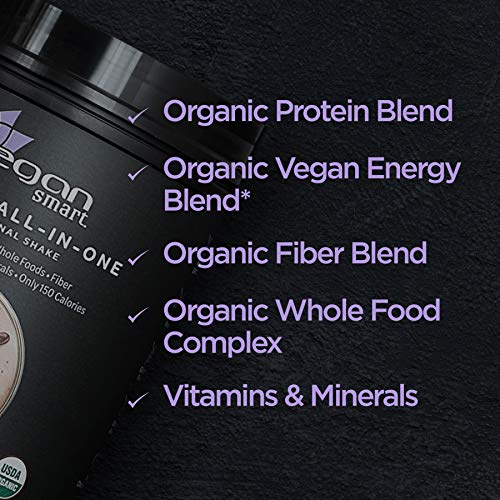 Vegansmart Plant Based Organic Protein Powder by Naturade, All-in-One Nutritional Shake - Chocolate Fudge (14 Servings)
