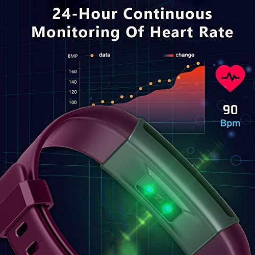 Lintelek Fitness Tracker Heart Rate Monitor, Activity Tracker, Pedometer Watch with Connected GPS, Waterproof Calorie Counter, 14 Sports Modes Step Tracker for Women, Men and Gift 7