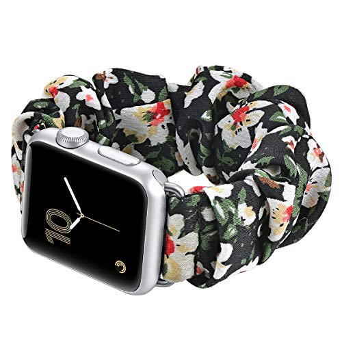 fastgo Compatible with Scrunchie Apple Watch Band Series 5/4 38mm/40mm, Women Girls Gift Elastic Bracelet Sport Strap Stretchy Soft Fabric Replacement Wristbands for Iwatch 3/2/1 42mm/44mm Accessories