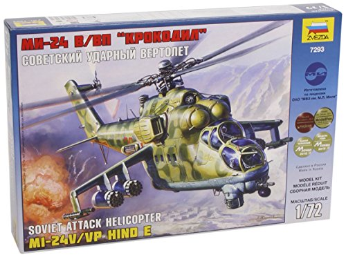 "Zvezda 7293 - Soviet Attack Helicopter MI-24V/VP HIND E - Plastic Model Kit Scale 1/72 Lenght 11,75"" / 29.8 cm 270 Details"