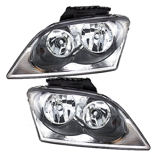 Pair Set Halogen Combination Headlights Headlamps Replacement fits 04-06 Chrysler Pacifica 4857851AE 4857850AA