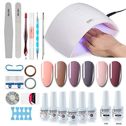 Gel Nail Polish Starter Kit - 6 Colors Gel Polish Set Base Top Coat, 36W LED Nail Dryer Lamp with Full DIY Gel Manicure Nail Tools by Vishine 8ml #12