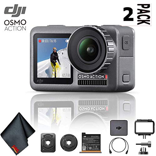 DJI Osmo Action 4K Camera 2 Pack Bundle with Cleaning Cloth