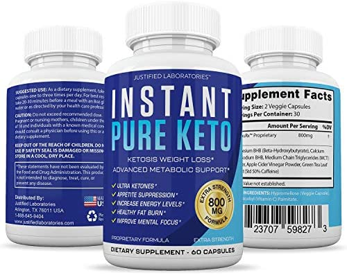 Instant Pure Keto Pills Advanced BHB Boost Ketogenic Supplement Exogenous Ketones Ketosis for Men Women 60 Capsules 1 Bottle 7