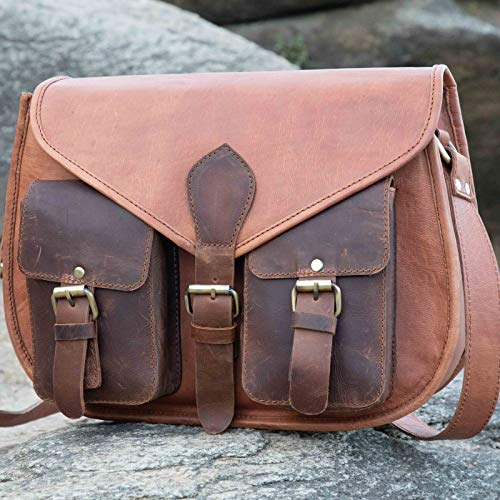 iBambooMart Leather Purse Women Shoulder Bag Crossbody Satchel Ladies Tote Travel Purse 14 Inch Genuine Tan Brown Leather