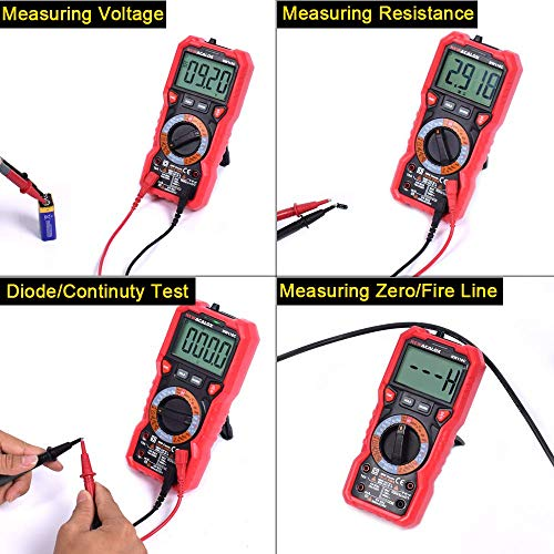 Digital Multimeter, TRMS 6000 Counts Auto-Ranging for Measuring DC/AC Current, Voltage, Resistance, Temperature,Capacitance, Diode, Frequency with LED Indicator