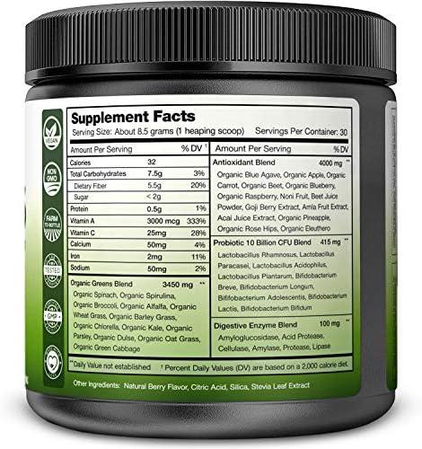 Super Greens Powder Premium Superfood - 20+ Organic Green Veggie Whole Foods - Wheat Grass, Spirulina, Chlorella & More - Antioxidant, Digestive Enzyme & Probiotic Blends | Vegan Juice Supplement 3