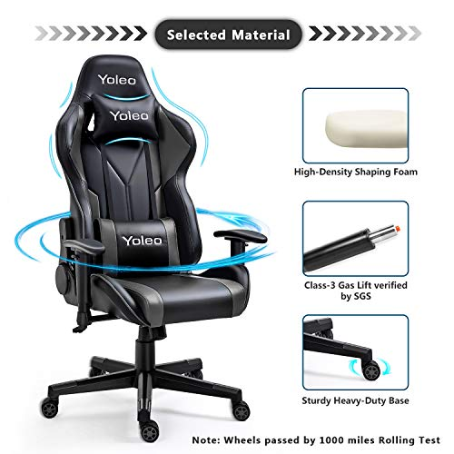 Gaming Chair -Yoleo Ergonomic Computer Gaming Chair Adjustable Armrest High Back Office Chair Mute Casters Desk Chair with Lumbar Support and Headrest, Recliner Chair BIFMA Certified Black/Grey