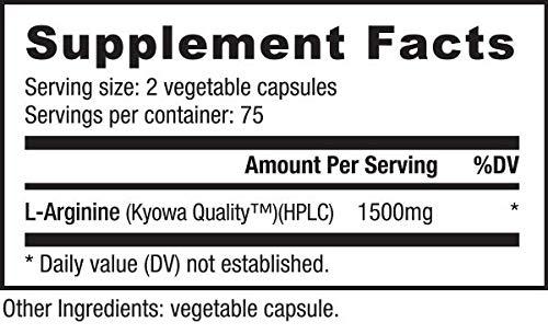 NutraBio Pure Fermented L-Arginine Supplement (150 Capsules, 750mg Each)