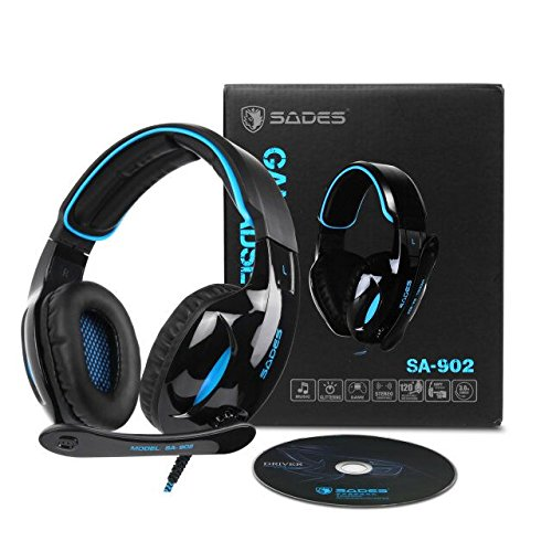 SADES Newest SA902 7.1 Channel Virtual Surround Sound USB Gaming Headset Over-ear Headphones with Noise Isolating Mic LED Light for PC Mac Computer Gamers(Black Blue)