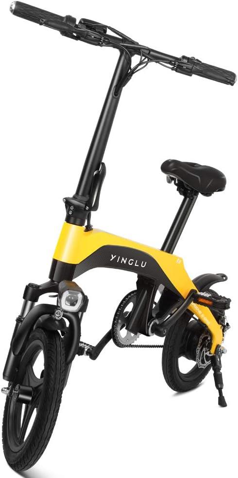 YINGLU I3 Carbon Fiber Electric Bicycle E-Bike Scooter 350W Powerful Motor 16-Mile Range Intelligent 3 Riding Modes LED Dashboard (Yellow
