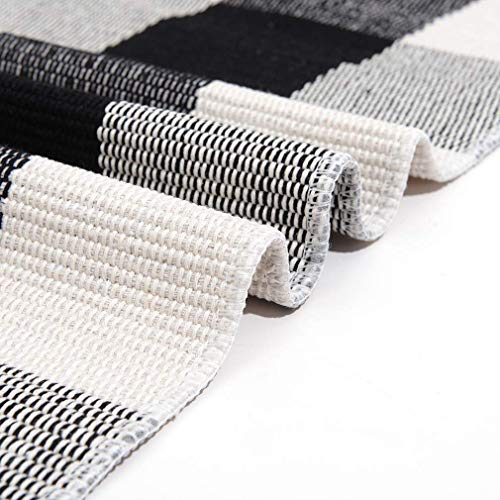 """SEEKSEE 100% Cotton Plaid Rugs Black/White Checkered Plaid Rug Hand-Woven Buffalo Checkered Doormat Washable Porch Kitchen Area Rugs (35.4""""×59"""")"""