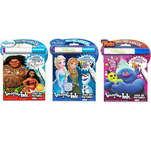 KaleidoQuest Bundle of 3 Imagine Ink Magic Pictures Activity Books - Moana, Trolls & Frozen