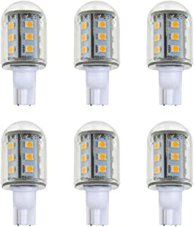 Makergroup T5 T10 Wedge Base LED Light Bulbs Glass Dome 12VAC/DC 2Watt Warm White 2700K-3000K for Outdoor Landscape Lighting Deck Stair Step Path Lights 6-Pack