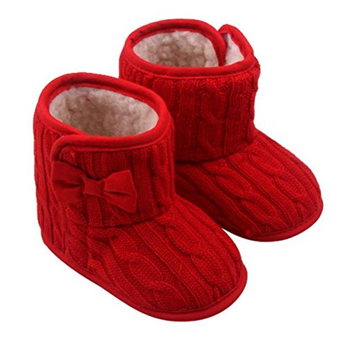 Orangeskycn Winter Boots Baby Girl,Baby Bowknot Soft Sole Winter Warm Shoes Boots