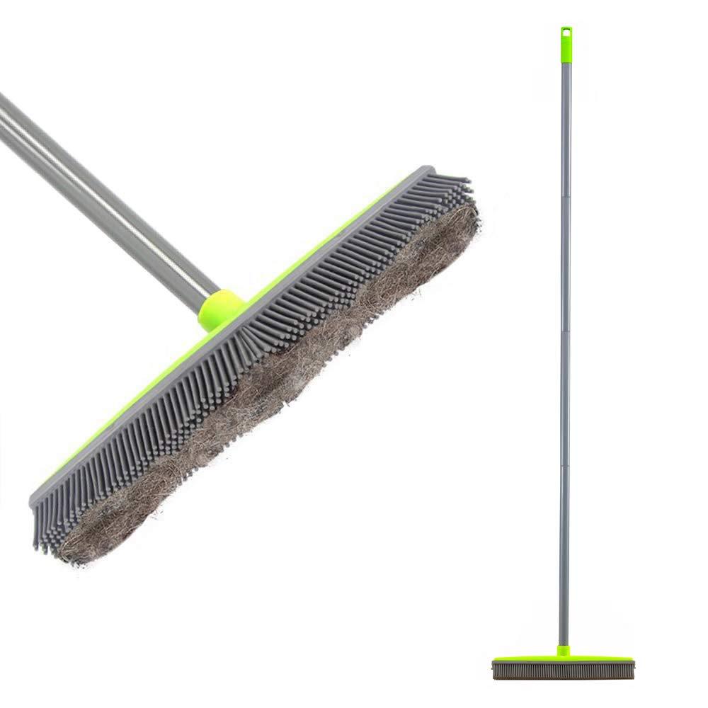 LandHope Push Broom Long Handle Rubber Bristles Sweeper Squeegee Edge 59 inches Non Scratch Bristle Broom for Pet Cat Dog Hair Carpet Hardwood Tile Windows Clean Water Resistant (Multi Segment Handle)