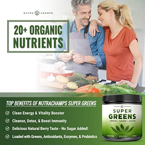 Super Greens Powder Premium Superfood - 20+ Organic Green Veggie Whole Foods - Wheat Grass, Spirulina, Chlorella & More - Antioxidant, Digestive Enzyme & Probiotic Blends | Vegan Juice Supplement 5