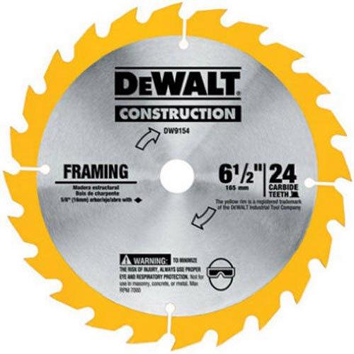 DEWALT 6-1/2-Inch Circular Saw Blade, ATB Framing with 5/8-Inch Arbor, 24-Tooth (DW9154)
