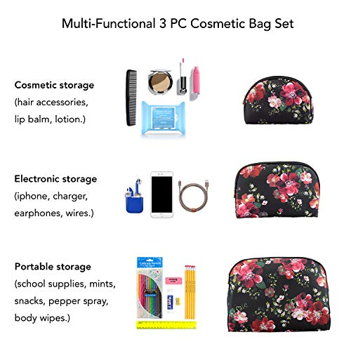 Once Upon A Rose 3 Pc Cosmetic Bag Set, Purse Size Makeup Bag for Women, Toiletry Travel Bag, Makeup Organizer, Cosmetic Bag for Girls Zippered Pouch Set, Large, Medium, Small (Black & Floral)