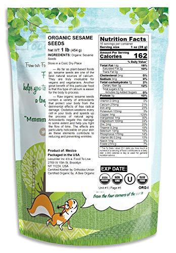 Organic Sesame Seeds, 1 Pound – Hulled, Non-GMO, Kosher, Raw, Vegan